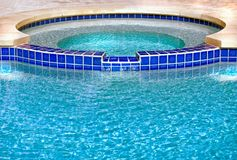 Inviting Hot Tub. Inviting and refreshing spa with blue tiles Stock Photography