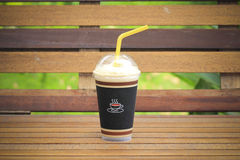 Inviting iced drink in a covered cup Royalty Free Stock Images