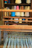 Inviting image of Loom and colorful threads of beginning project,Adirondack Folk School,Lake Luzerne,2015 Royalty Free Stock Image