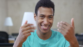 Inviting, Offering to Join Young Black Man Gesture stock video footage