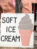 Soft ice cream sign. Inviting roadside sign, serving soft ice cream Royalty Free Stock Photo