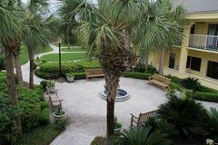 Inviting scene of courtyard with landscaped walkways,Beachview Club,Jekyll Island,2015 Royalty Free Stock Photo