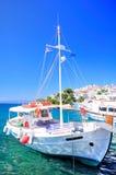 Inviting tour boat, Greece stock photos