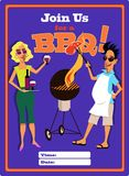 Invito ad un modello del partito del barbecue Fotografie Stock Libere da Diritti