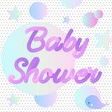 Invito al neon della doccia di bambino con una balena Fotografia Stock Libera da Diritti