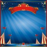 Invito blu quadrato del circo di notte illustrazione di stock