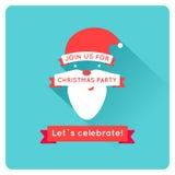 Invito con Santa, vettore piano di Natale Fotografie Stock Libere da Diritti