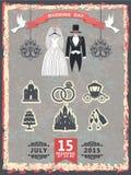 Invito d'annata con i vestiti e le icone di nozze Immagine Stock Libera da Diritti