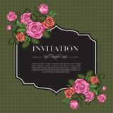 Invito d'annata con le rose illustrazione vettoriale