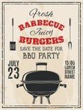 Invito d'annata del partito del barbecue royalty illustrazione gratis