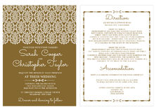 Invito d'annata della carta dell'invito di nozze con gli ornamenti Fotografia Stock Libera da Diritti