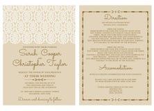 Invito d'annata della carta dell'invito di nozze con gli ornamenti Fotografia Stock
