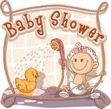 Invito del fumetto della doccia di bambino illustrazione vettoriale