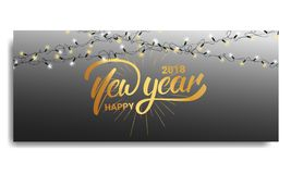 Invito 2018 del nuovo anno Cardi il modello con le luci di natale e l'iscrizione d'ardore della mano Buon anno 2018 illustrazione di stock