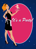 Invito del partito con una cameriera di bar del cocktail Immagine Stock Libera da Diritti
