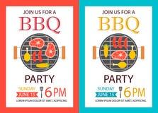 Invito del partito del barbecue Aletta di filatoio del modello del BBQ Fotografie Stock Libere da Diritti