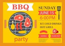 Invito del partito del barbecue Aletta di filatoio del modello del BBQ Immagini Stock