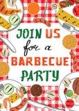 Invito del partito del BBQ Fotografia Stock