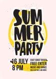 Invito del partito della spiaggia di estate o modello del manifesto con l'iscrizione scritta a mano contro la fetta di limone gia illustrazione di stock