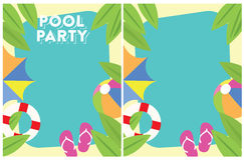 Invito del partito di estate della festa in piscina Fotografia Stock