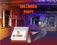 Invito del partito di Halloween con il fantasma Fotografia Stock Libera da Diritti
