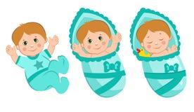 Invito del ragazzo della doccia di bambino Ragazzo neonato di sonno Neonato appena nato Pannolini neonati del ragazzo Vestiti neo Fotografia Stock