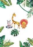 Invito dell'acquerello con gli animali selvatici e le foglie della giungla Illustrazione disegnata a mano dei bambini illustrazione vettoriale