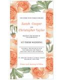 Invito della carta dell'invito di nozze con i fiori dell'acquerello Fotografia Stock
