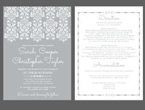 Invito della carta dell'invito di nozze d'argento con gli ornamenti Immagine Stock Libera da Diritti