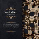 Invito della cartolina d'auguri con pizzo e gli ornamenti floreali, illustrazione ornamentale del fondo del modello dell'oro, immagine stock