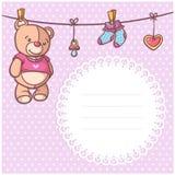 Invito della cartolina di saluto del partito di doccia del bambino con uno spazio del testo - vector l'illustrazione Fotografie Stock