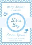 Invito della doccia del neonato, ` s un ragazzo illustrazione di stock