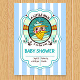 Invito della doccia di bambino con capitano di mare illustrazione vettoriale