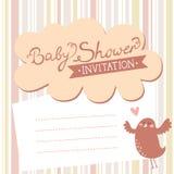Invito della doccia di bambino con l'uccello sveglio Immagine Stock
