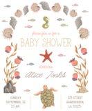 Invito della doccia di bambino con le piante di mare, i coralli, l'alga, le pietre e gli animali Flora marina disegnata a mano e  illustrazione vettoriale