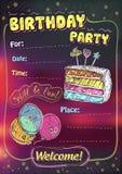 Invito della festa di compleanno, spazio della copia royalty illustrazione gratis