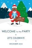 Invito della festa di Natale Posto per il vostro messaggio di testo Cartolina d'auguri Africano sveglio Santa Illustrazione di ve Fotografia Stock Libera da Diritti