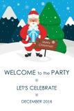 Invito della festa di Natale Posto per il vostro messaggio di testo Cartolina d'auguri Santa sveglia Illustrazione di vettore Fotografia Stock