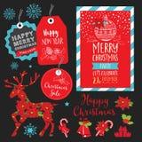 Invito della festa di Natale, ristorante del menu dell'alimento illustrazione vettoriale
