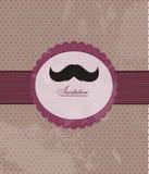 Invito della priorità bassa del Moustache Fotografie Stock