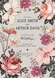 Invito di cerimonia nuziale Bella malva dell'ibisco di Rosa della camomilla dei fiori Immagine Stock