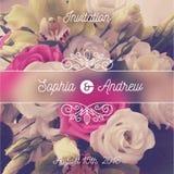 Invito di cerimonia nuziale Cartolina d'auguri con il fondo dei fiori e gli elementi di flourishes illustrazione vettoriale