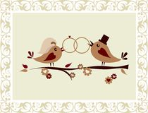 Invito di cerimonia nuziale con gli uccelli Immagini Stock