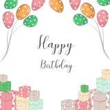 Invito di compleanno con il pallone ed il regalo illustrazione di stock