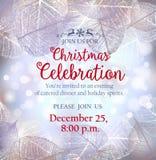 Invito di Natale con la struttura delle foglie di brina Illustrazione di Stock