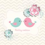 Invito di nozze con due uccelli e fiori, illustrazione Fotografia Stock
