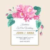 Invito di nozze con i fiori e la struttura di loto rosa fotografia stock libera da diritti