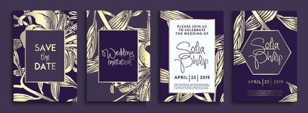Invito di nozze con i fiori e le foglie dell'oro su struttura scura gli ambiti di provenienza di lusso dell'oro, coperture artist illustrazione di stock