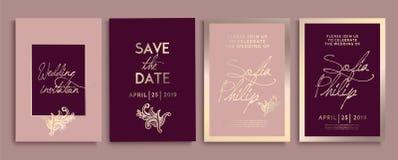 Invito di nozze con i fiori e le foglie su oro, struttura scura partecipazione di nozze di lusso sugli ambiti di provenienza dell royalty illustrazione gratis