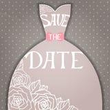 Invito di nozze con il bello vestito da sposa elegante. royalty illustrazione gratis